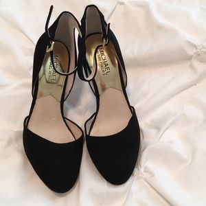 Black velvet closed toe ankle strap Michael Kors